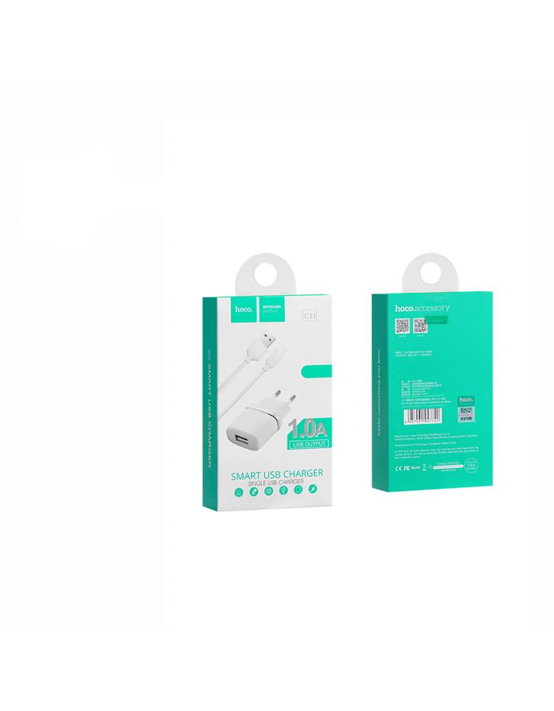 Зарядное устройство + кабель Apple. HOCO (original) C11. 1xUSB 1.0A. Цвет: Белый