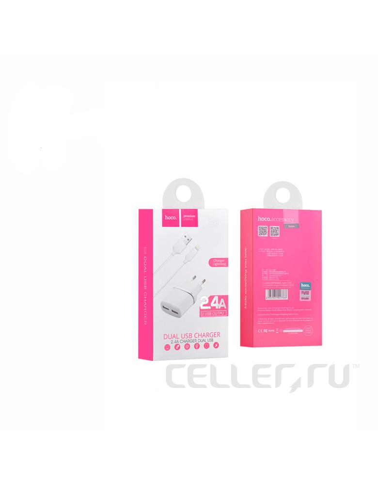 Зарядное устройство + кабель Apple. HOCO (original) C12. 2xUSB 2.4A. Цвет: Чёрный