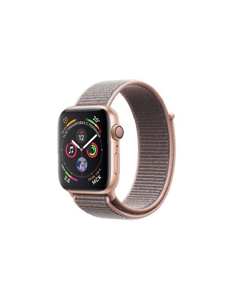 Apple Watch Series 4, 44 мм, корпус из золотистого алюминия, спортивный браслет цвета «розовый песок»