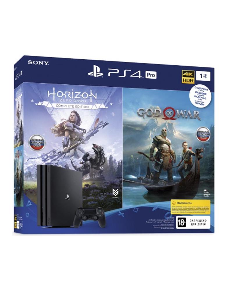 Игровая приставка PlayStation 4 Pro 1TB Black + Horizon Zero Dawn. Complete Edition + God Of War