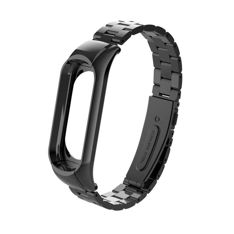 Стальной браслет для Xiaomi Mi Band 3 (черный)