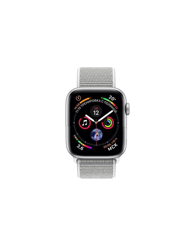 Apple Watch Series 4, 40 мм, корпус из серебристого алюминия, спортивный браслет цвета «белая ракушка» (серебристый)