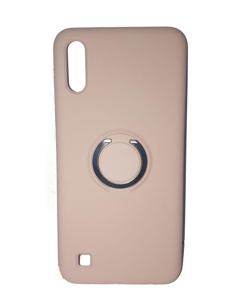Чехол силиконовый с кольцом для Samsung Galaxy A10 розовый