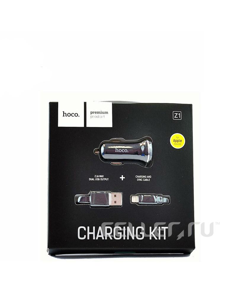 Автомобильное зарядное устройство + кабель для Apple. HOCO (original) Z1. 2xUSB 2.1A. Цвет: Чёрный