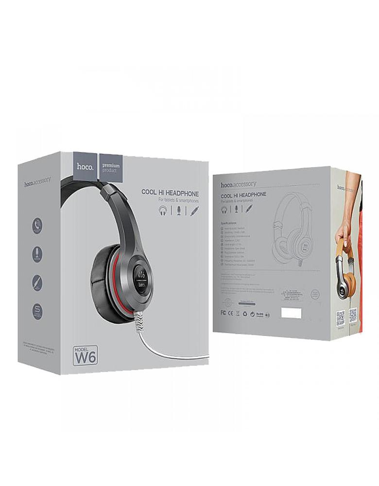 Наушники с микрофоном HOCO(original) W6 Wired Heavy Bass Headphone. Цвет: Коричневый