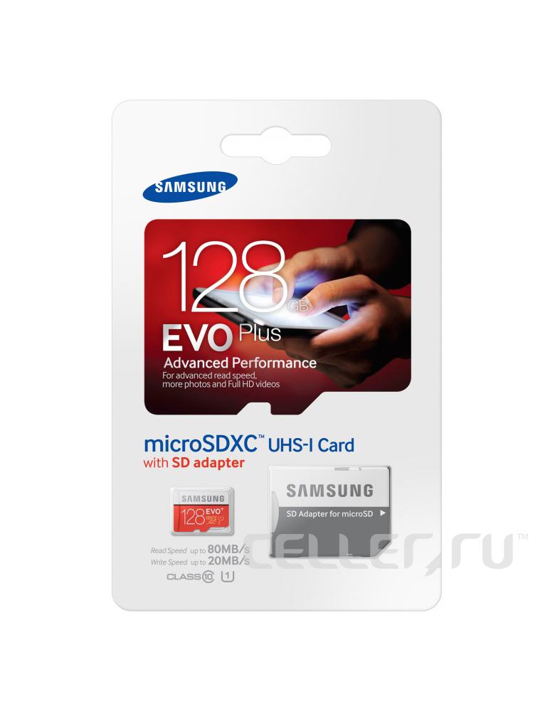 Карта памяти Samsung microSDHC EVO Plus 128Gb 95MB/s + SD adapter