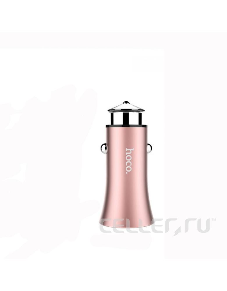 Автомобильное зарядное устройство HOCO (original) Z8A Titan. 2xUSB 2.4A. Цвет: Розовое золото