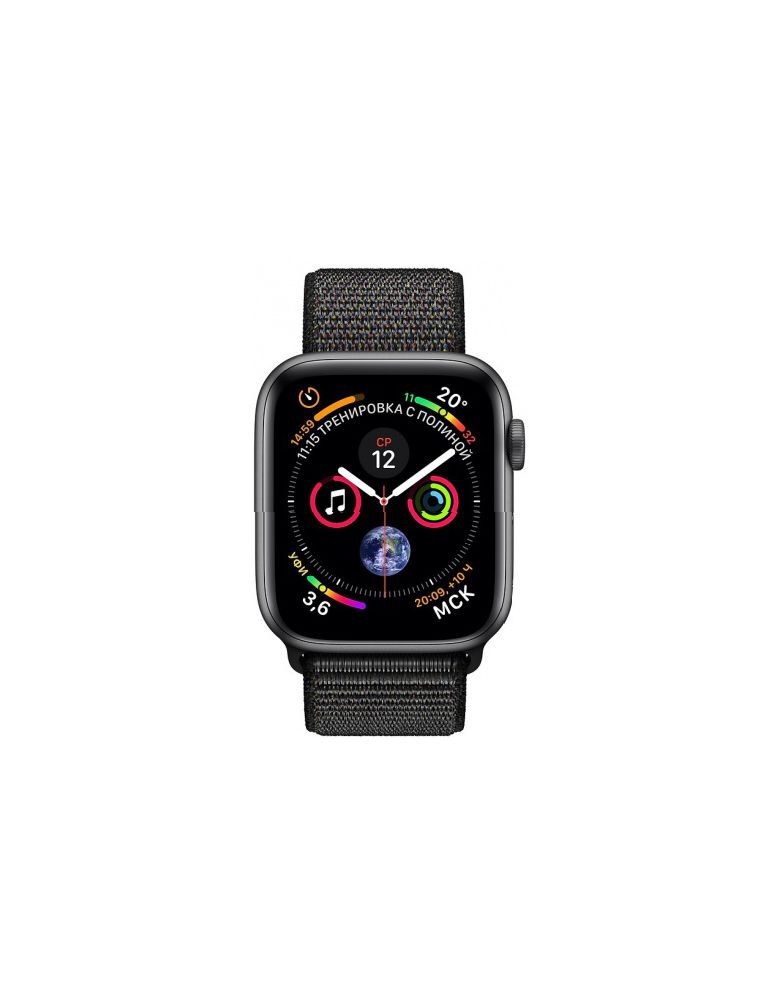 Apple Watch Series 4, 40 мм, корпус из алюминия цвета «серый космос», спортивный браслет черного цвета (серый)