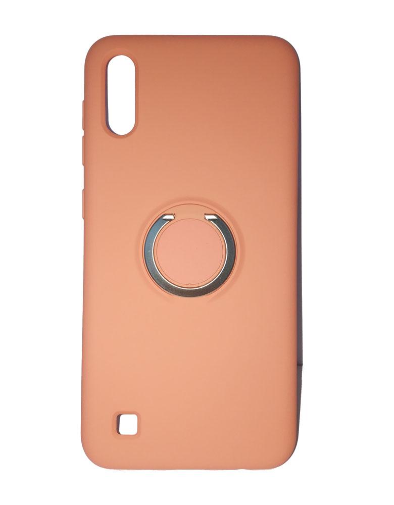 Чехол силиконовый с кольцом для Samsung Galaxy A10 персиковый