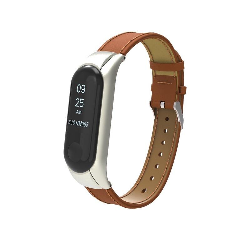 Кожаный ремешок для фитнес браслета Xiaomi Mi Band 3 (коричневый)