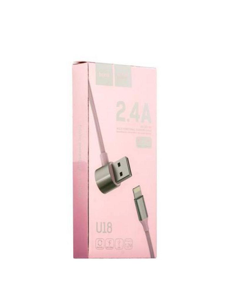 Двухсторонний кабель Lightning + Micro USB, Hoco U18 Golden Hat Multi-Functional Cable Цвет: розовый