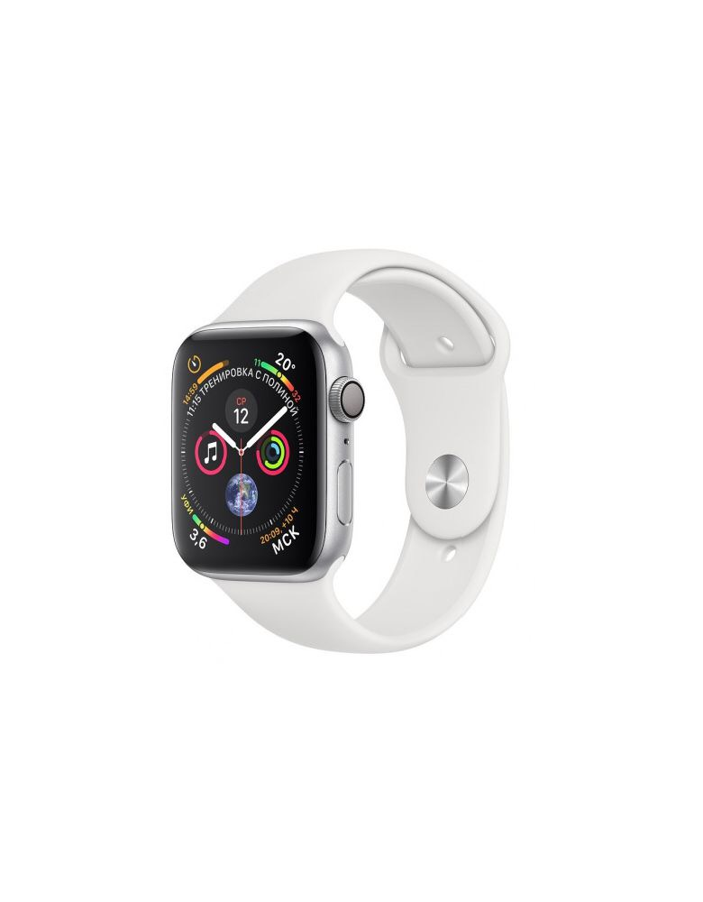 Apple Watch Series 4, 44 мм, корпус из серебристого алюминия, спортивный ремешок белого цвета (серебристый)