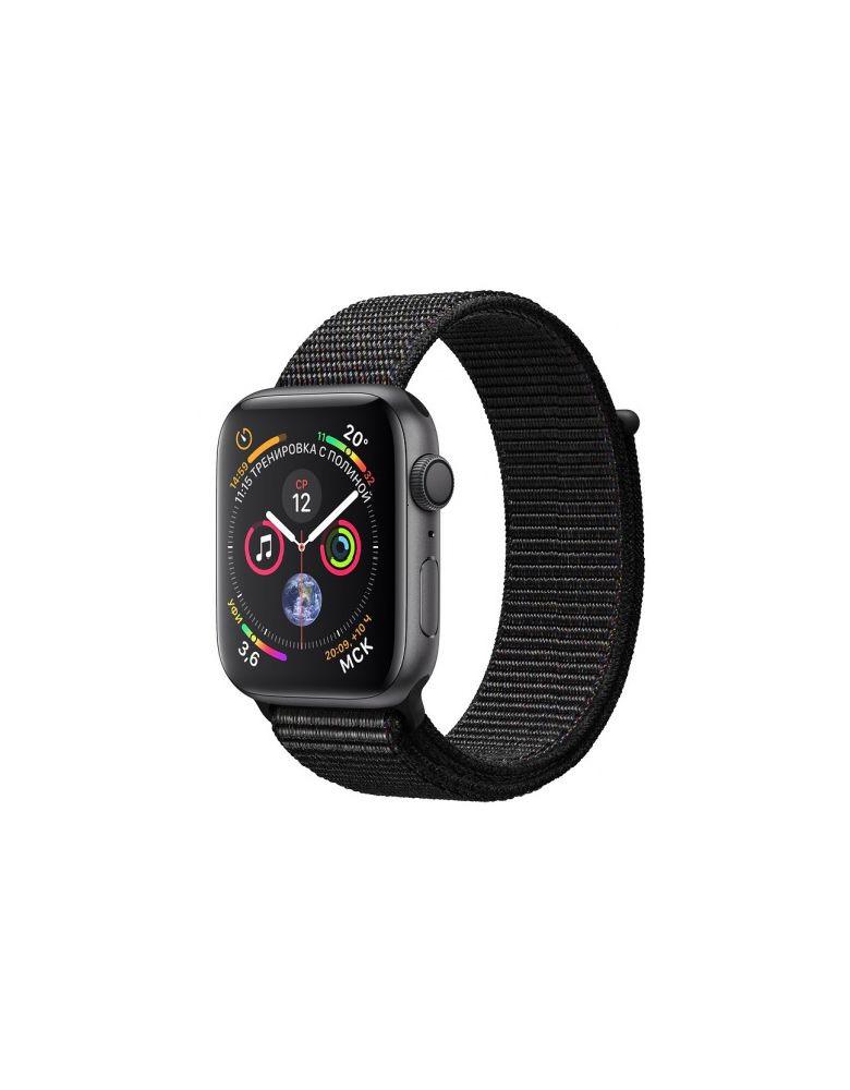 Apple Watch Series 4, 44 мм, корпус из алюминия цвета «серый космос», спортивный браслет черного цвета (серый)