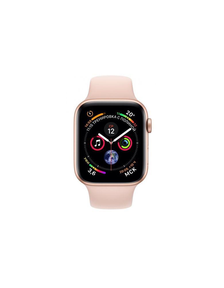Apple Watch Series 4, 40 мм, корпус из золотистого алюминия, спортивный ремешок цвета «розовый песок»