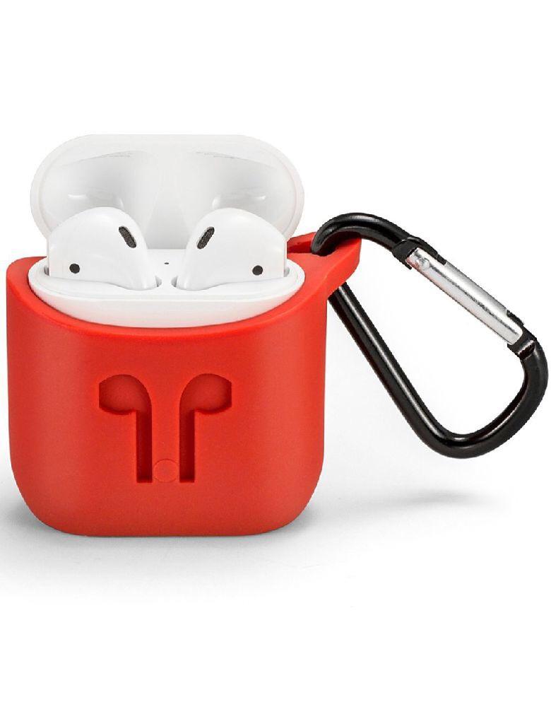 Силиконовый чехол для беспроводных наушников Apple AirPods Red