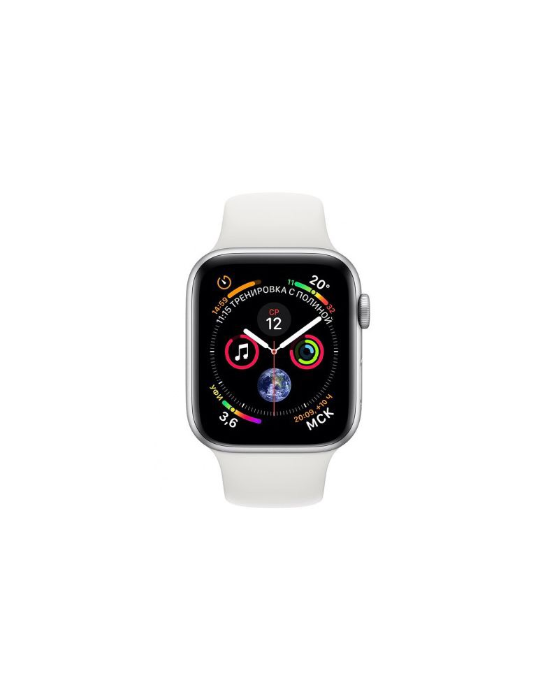 Apple Watch Series 4, 40 мм, корпус из серебристого алюминия, спортивный ремешок белого цвета (серебристый)