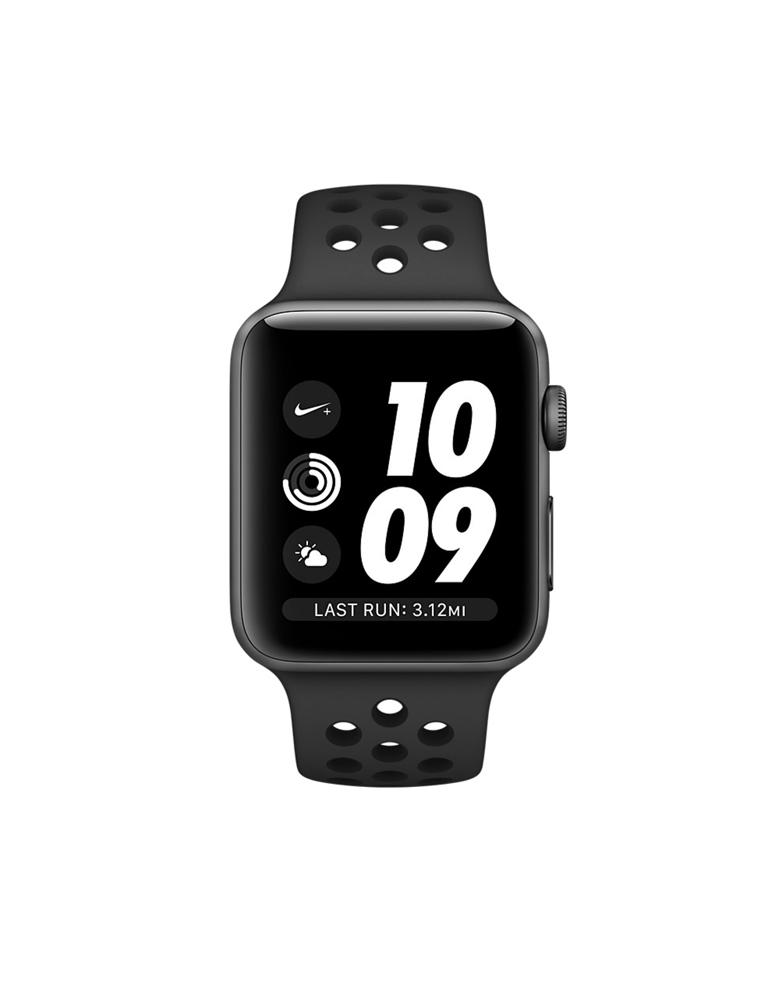Часы Apple Watch Series 3 42mm Aluminum Case with Nike Sport Band, корпус из алюминия цвета «серый космос», спортивный ремешок Nike цвета антрацитовый/черный