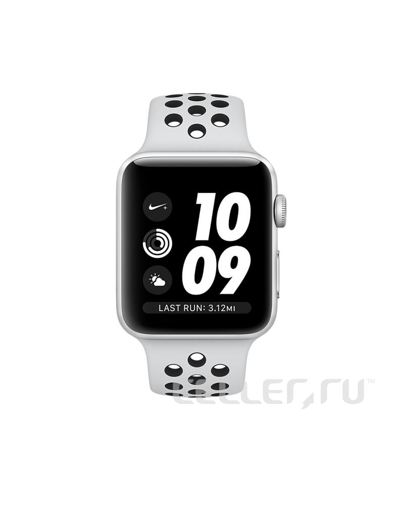 Apple Watch Series 3 Nike+ 42 мм Серебристый, Спортивный браслет «Чистая платина/Чёрный»
