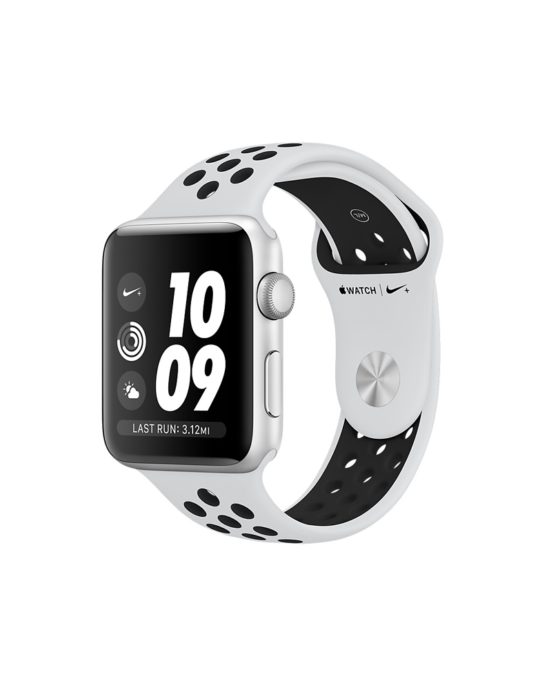 Apple Watch Series 3 Nike+ 38 мм Серебристый, Спортивный браслет «Чистая платина/Чёрный»