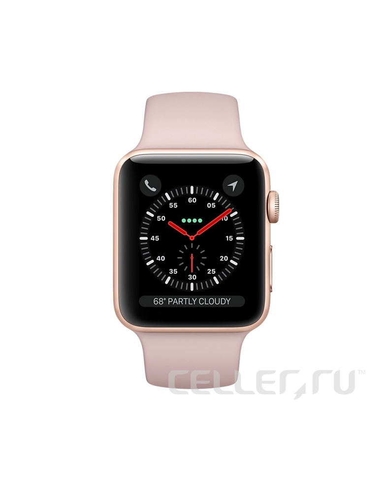 """Apple Watch Series 3 42 мм Золотистый, Спортивный браслет """"Розовый песок"""""""