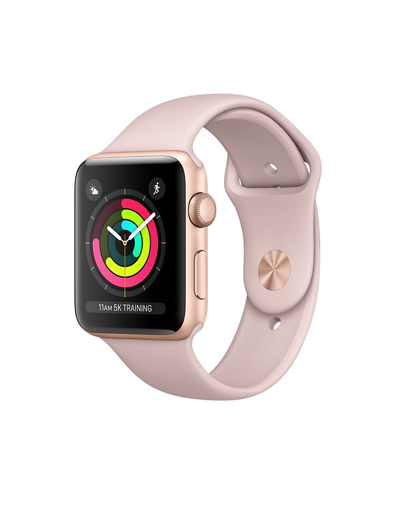 """Apple Watch Series 3 38 мм Золотистый, Спортивный браслет """"Розовый песок"""""""