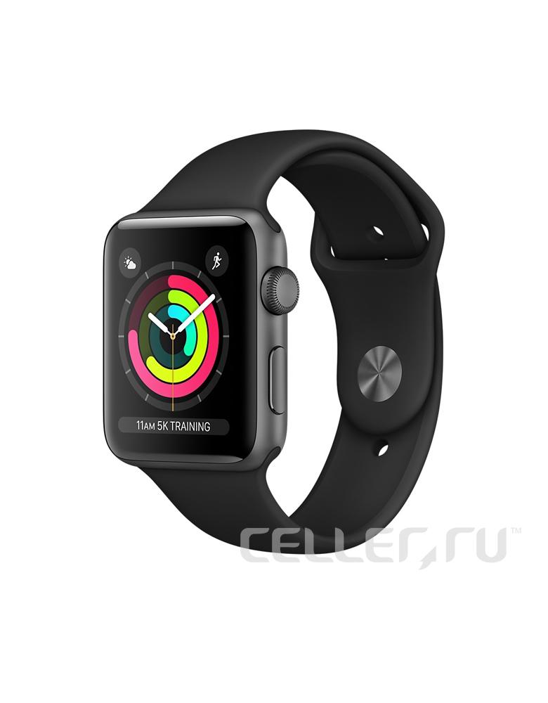 """Apple Watch Series 3 38 мм """"Серый космос"""", Спортивный браслет Черный"""