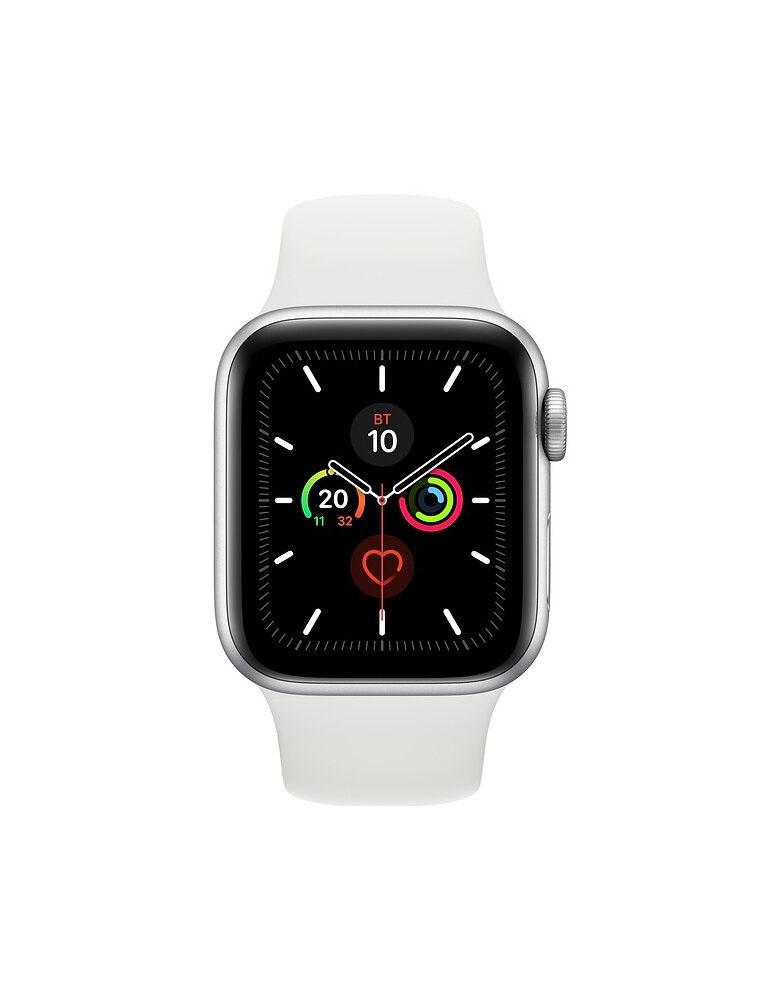 Часы Apple Watch Series 5 GPS 44mm Aluminum Case with Sport Band, корпус из алюминия серебристого цвета, спортивный ремешок белого цвета