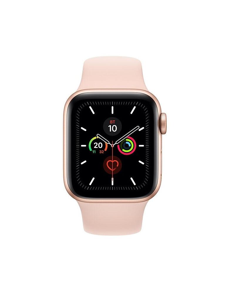 Часы Apple Watch Series 5 GPS 44mm Aluminum Case with Sport Band, корпус из алюминия золотого цвета, спортивный ремешок цвета «Розовый песок»