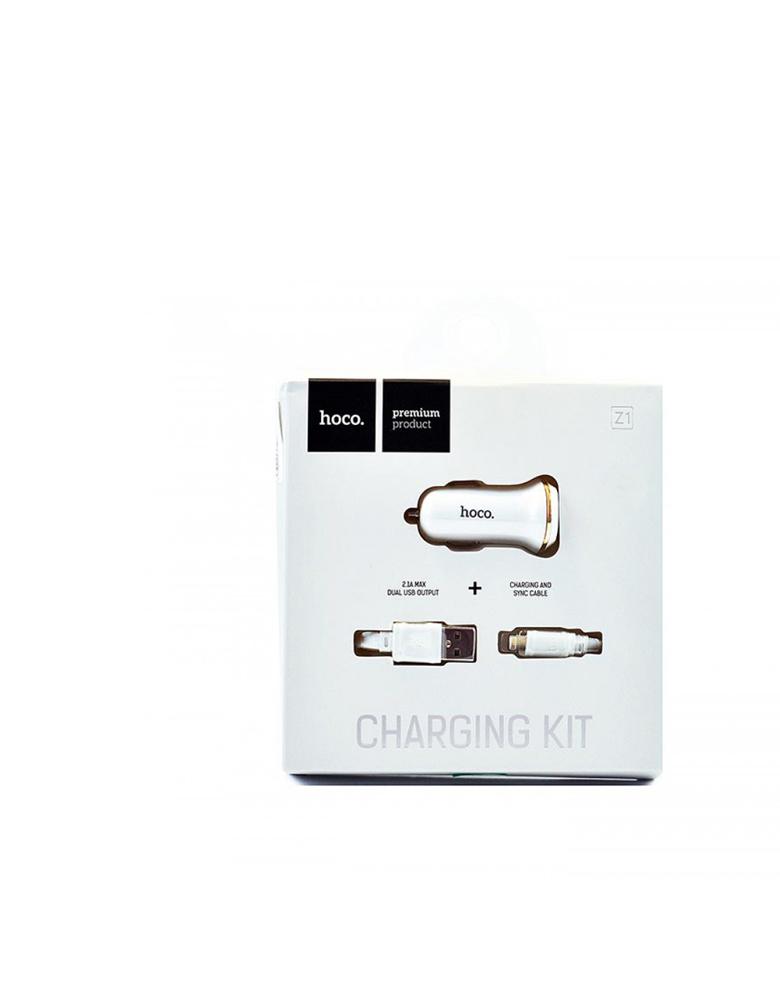 Автомобильное зарядное устройство + кабель micro USB, HOCO (original) Z1. 2xUSB 2.1A Цвет: Белый
