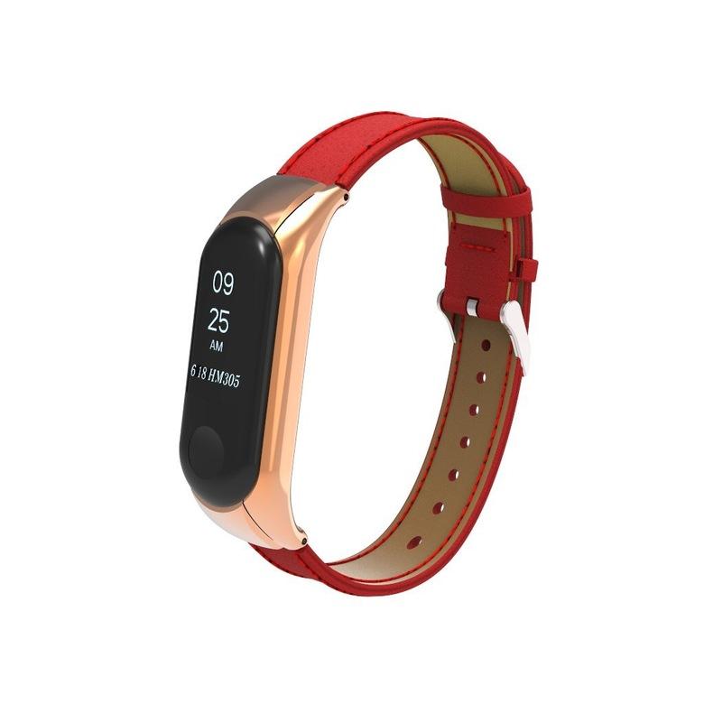 Кожаный ремешок для фитнес браслета Xiaomi Mi Band 3 (красный)