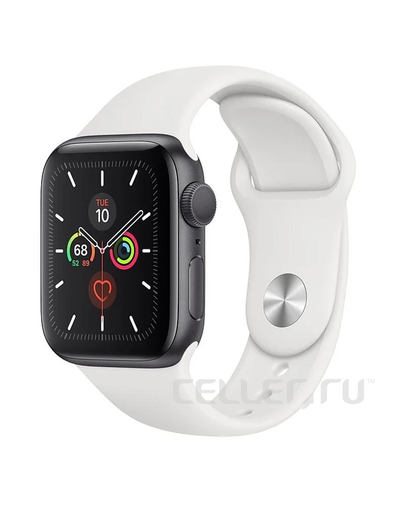 Умные часы Apple Watch Series 5 GPS 44mm Aluminum Case with Sport Band белые