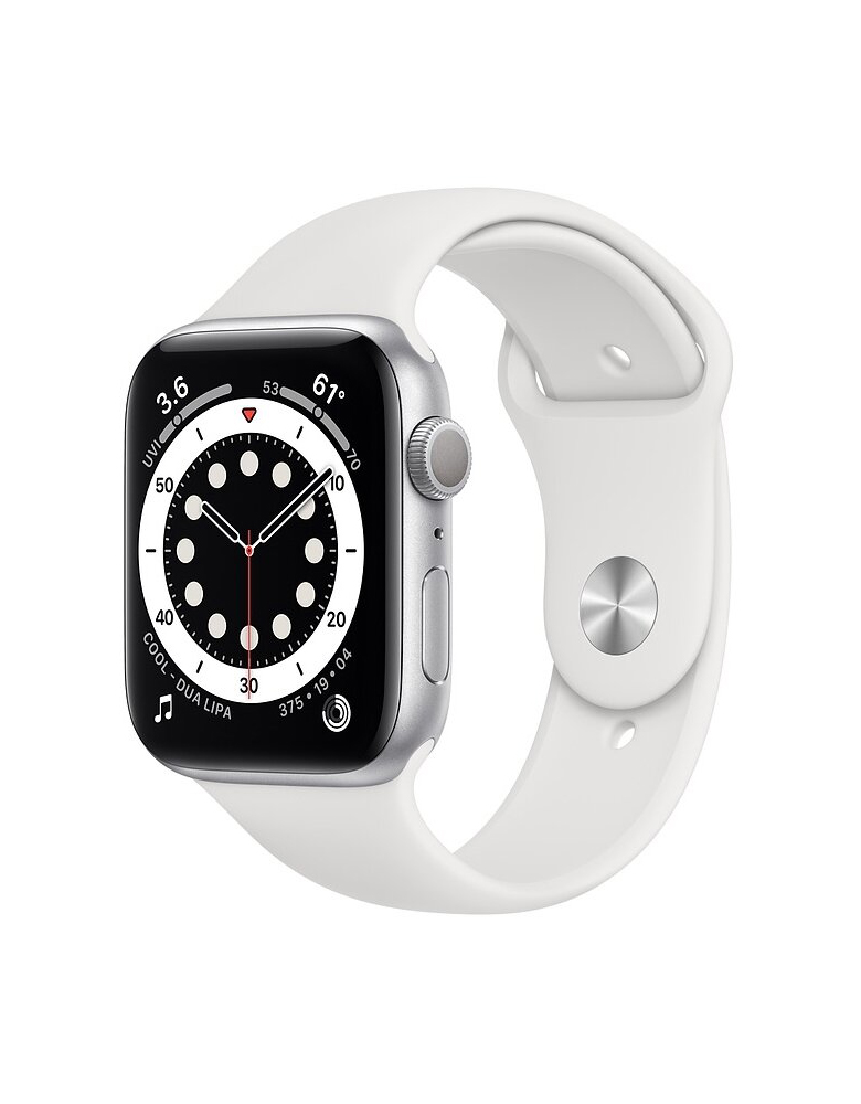 Умные часы Apple Watch Series 6 GPS 44мм Aluminum Case with Sport Band серебристый/белый