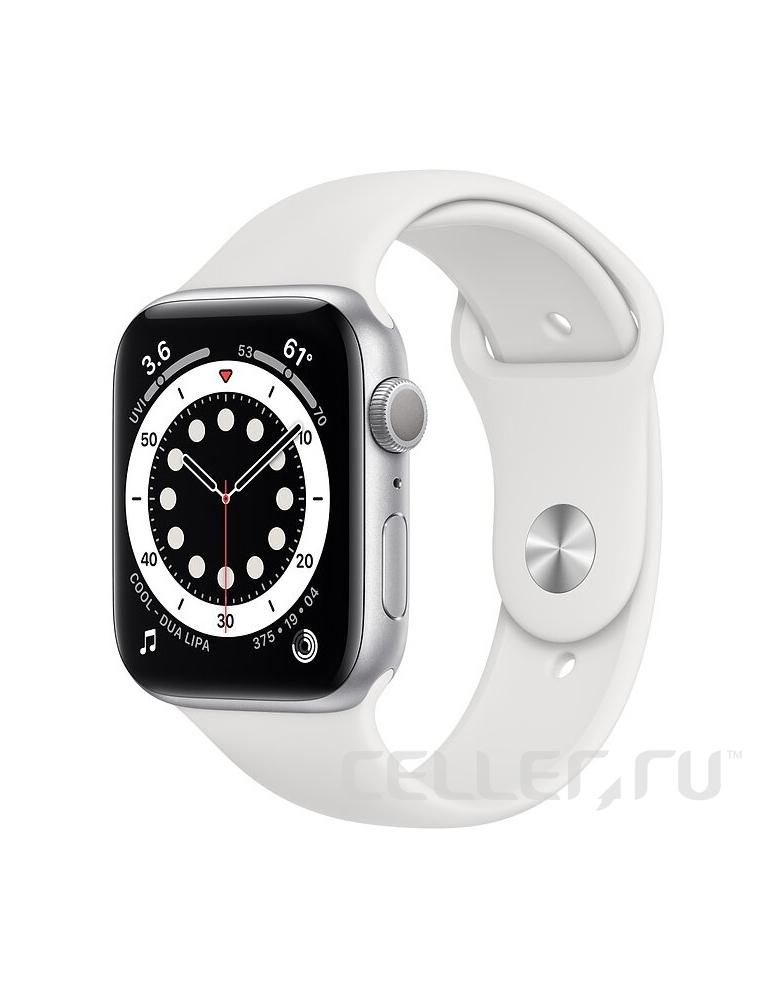 Умные часы Apple Watch Series 6 GPS 44мм Aluminum Case with Sport Band серебристый/белый