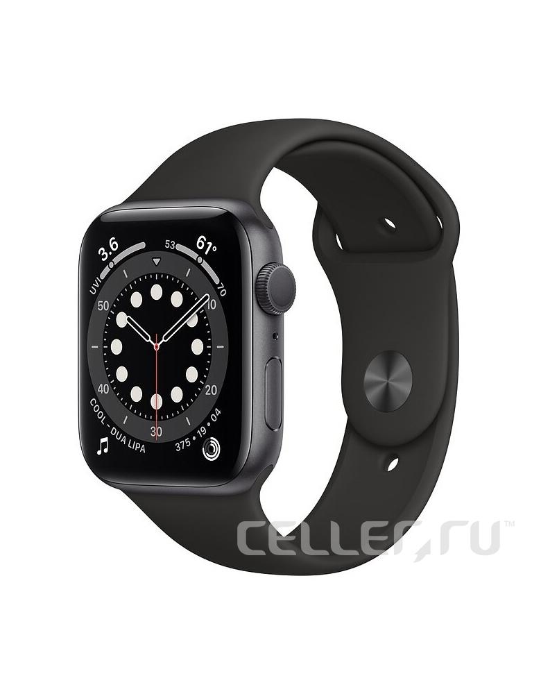 Умные часы Apple Watch Series 6 GPS 44мм Aluminum Case with Sport Band Черные