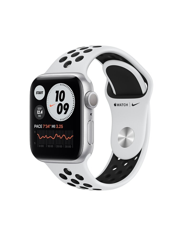Умные часы Apple Watch Series 6 GPS 44мм Aluminum Case with Nike Sport Band серебристый/чистая платина/черный