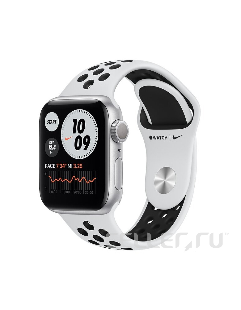 Умные часы Apple Watch Series 6 GPS 40мм Aluminum Case with Nike Sport Band серебристый/чистая платина/черный