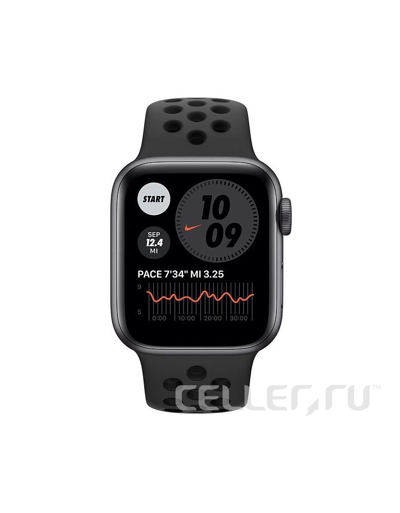 Умные часы Apple Watch Series 6 GPS 44мм Aluminum Case with Nike Sport Band серый космос/антрацитовый/черный