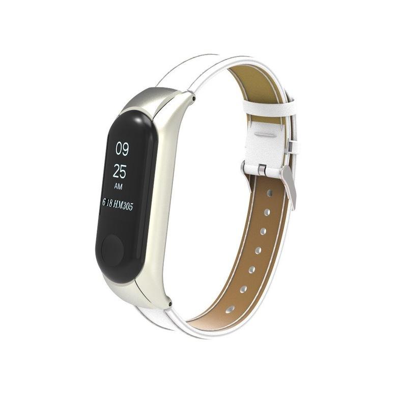Кожаный ремешок для фитнес браслета Xiaomi Mi Band 3 (белый)