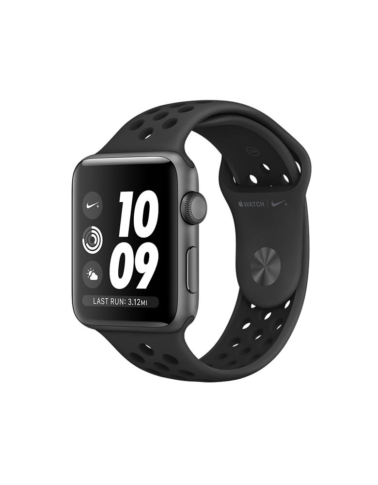 """Apple Watch Series 3 Nike+ 38 мм """"Серый Космос"""", Спортивный браслет """"Антрацитовый/Чёрный"""""""