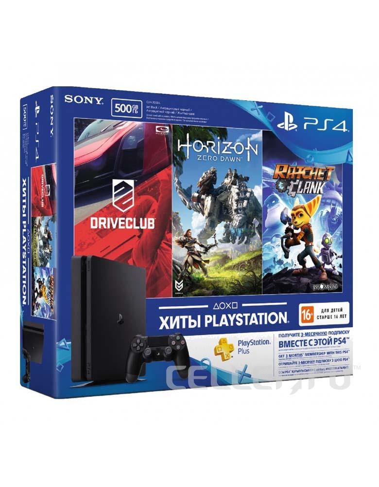 PlayStation 4 Slim 500 Gb (CUH-2108A) + DriveClub + Horizon Zero Dawn + Ratchet Clank + PlayStation Plus 3 месяца