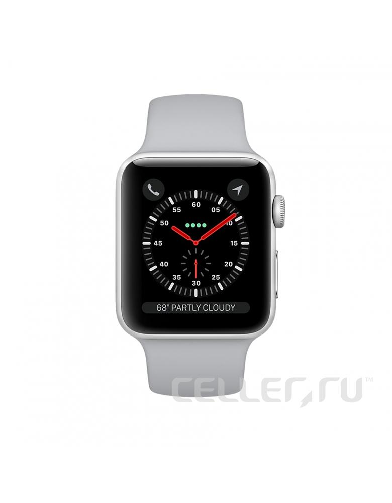 """Apple Watch Series 3 42 мм Серебристый, Спортивный браслет """"Дымчатый"""""""