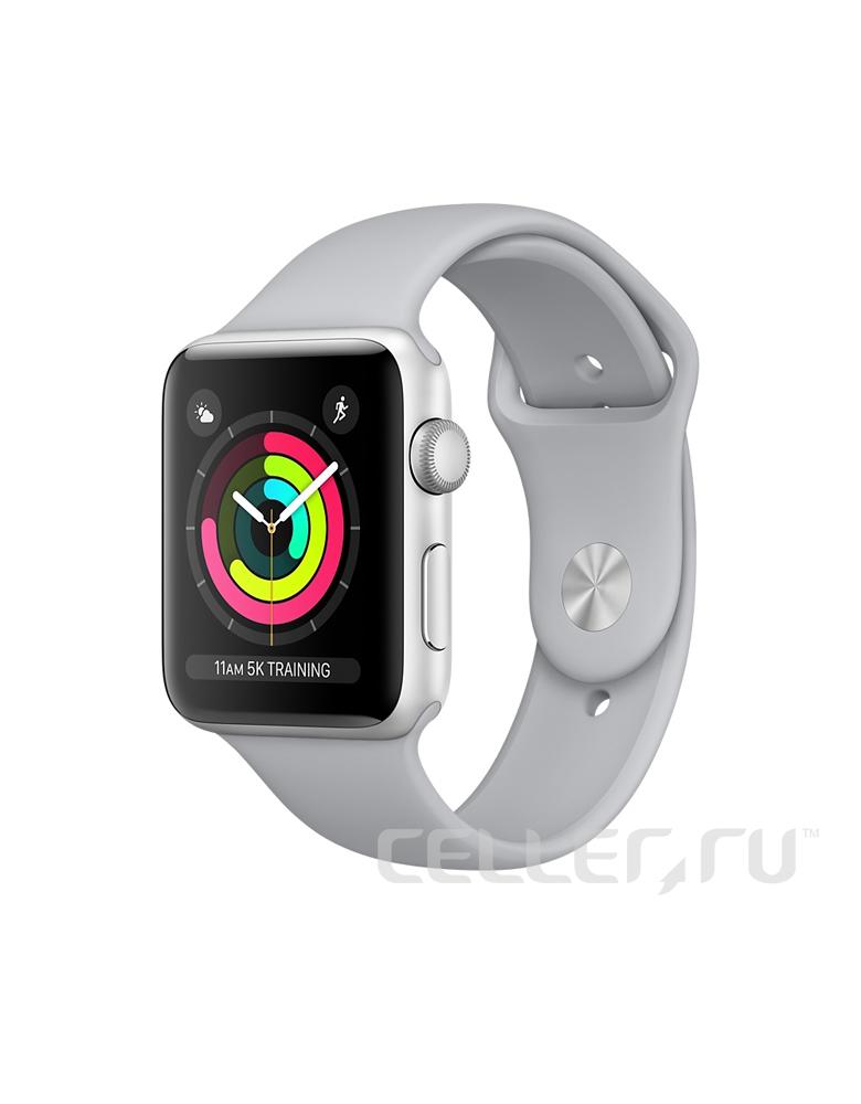 """Apple Watch Series 3 38 мм Серебристый, Спортивный браслет """"Дымчатый"""""""